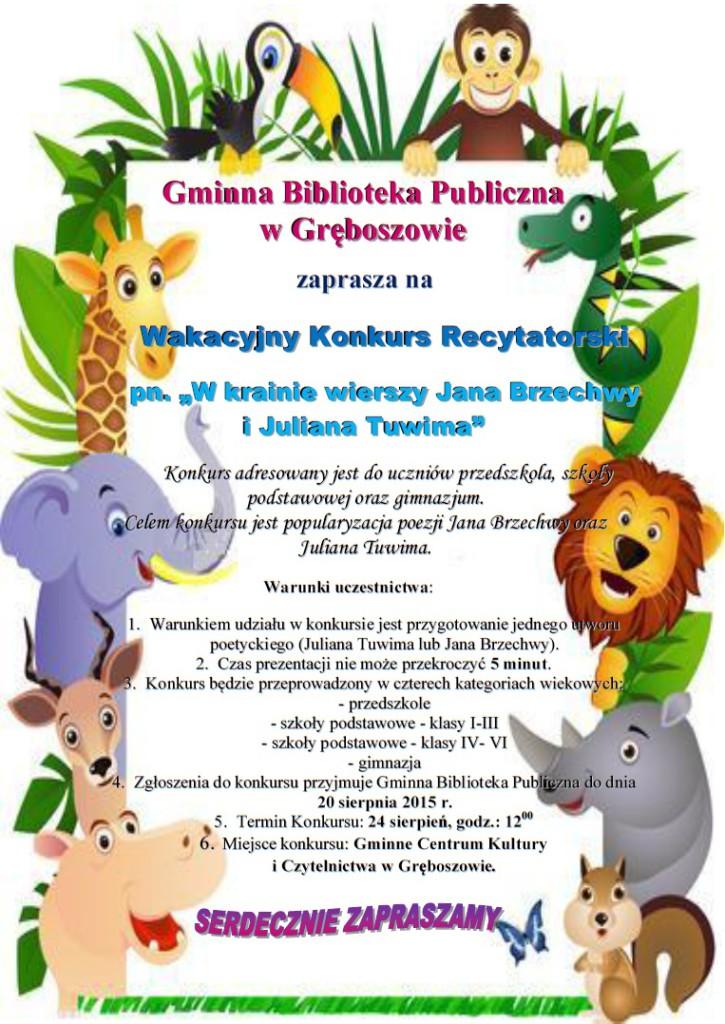 Wakacyjny Konkurs Recytatorski W Gręboszowie Zaproszenie Dąbrowa