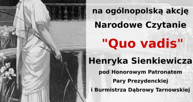 Narodowe Czytanie Quo Vadis Przed Budynkiem Mbp W Dąbrowie
