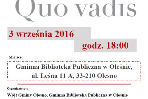 Narodowe Czytanie Quo Vadis Henryka Sienkiewicza W Gbp W Oleśnie