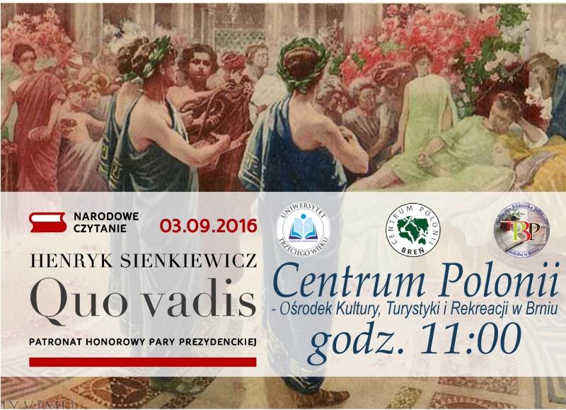 Narodowe Czytanie Quo Vadis W Breńskim Parku Zaproszenie