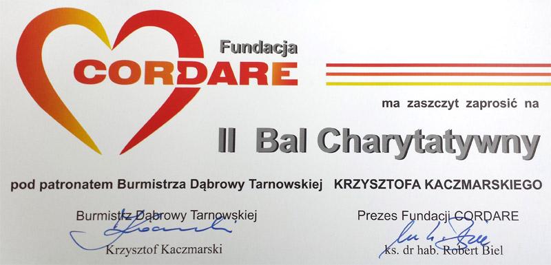 Ii Bal Charytatywny Fundacji Cordare Zaproszenie Dąbrowa