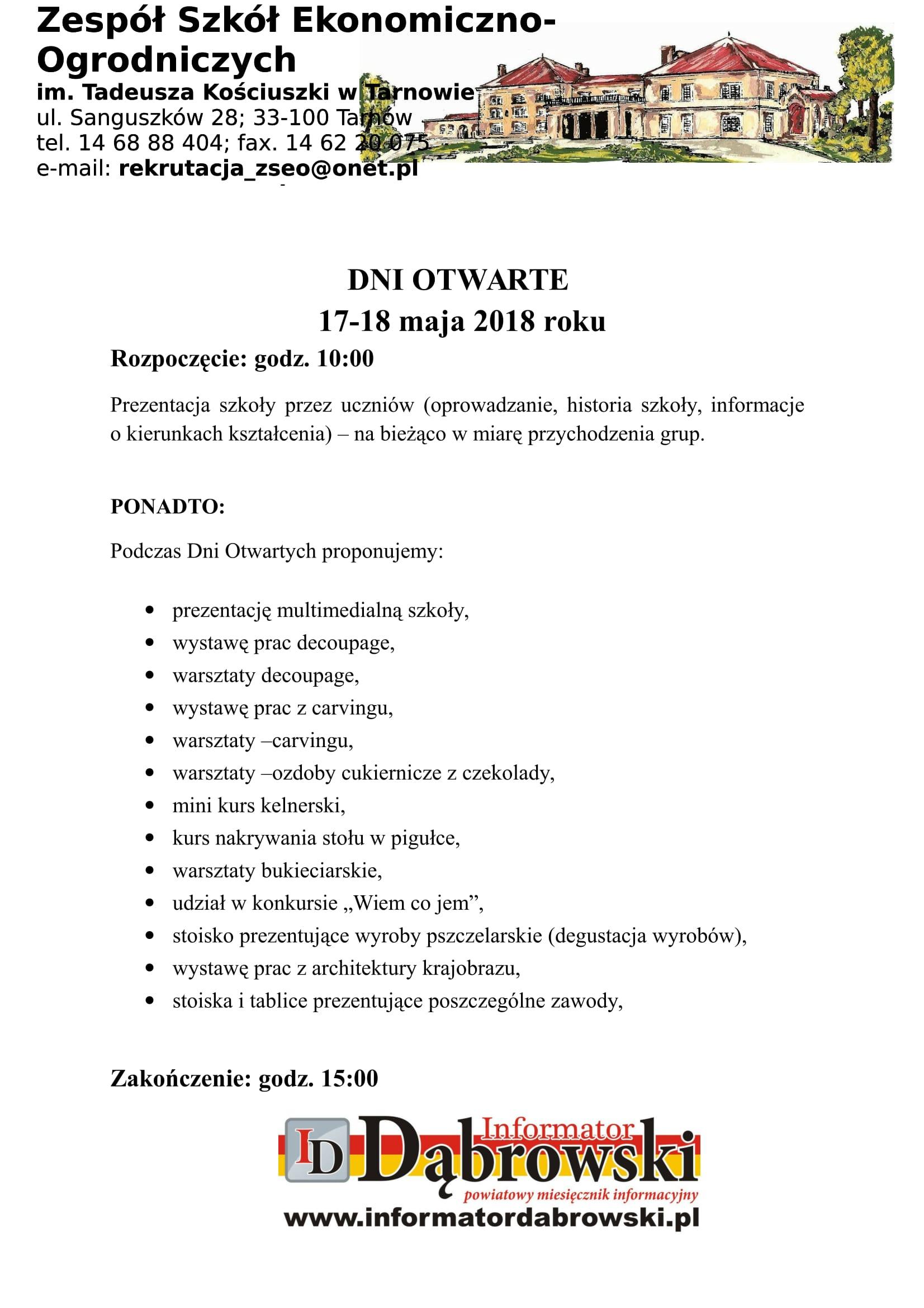 Dni Otwarte Zseo W Tarnowie Zaproszenie Dąbrowa Tarnowska